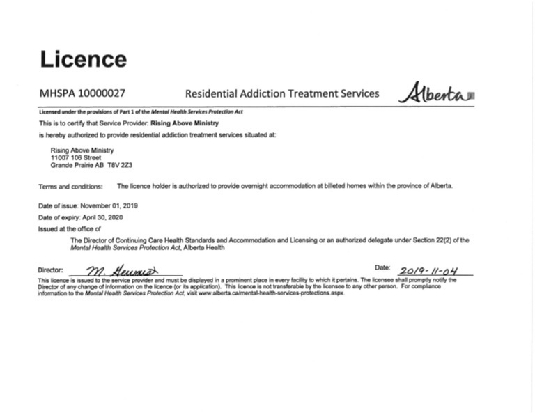 Provincial Licence